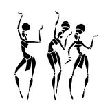 African Beautiful Women. Silhouette of woman. African dancers. Dancing woman in traditional ethnic style. Vector Illustration Stock Photos