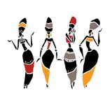 African Beautiful Women. Silhouette of woman. African dancers. Dancing woman in traditional ethnic style. Vector Illustration Royalty Free Stock Image