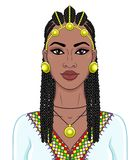 African beauty: animation portrait of the  beautiful black woman in a Afro-hair and gold jewelry. Color drawing. Vector illustration isolated on a white stock illustration