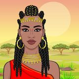 African beauty: animation portrait of the  beautiful black woman in Afro-hair and gold jewelry. African beauty: animation portrait of the  beautiful black woman royalty free illustration