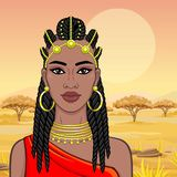 African beauty: animation portrait of the  beautiful black woman in Afro-hair and gold jewelry. African beauty: animation portrait of the  beautiful black woman stock illustration