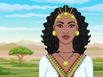 African beauty: animation portrait of the  beautiful black woman in Afro-hair and gold jewelry. Color drawing. Background - landscape savanna, mountains stock illustration