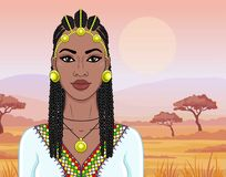 African beauty: animation portrait of the  beautiful black woman in Afro-hair and gold jewelry. Color drawing. Background - landscape savanna, mountains royalty free illustration