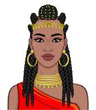 African beauty: animation portrait of the  beautiful black woman in a Afro-hair and gold jewelry. Color drawing. Vector illustration isolated on a white royalty free illustration