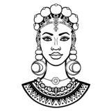 African beauty: animation portrait of the  beautiful black woman in ancient jewelry. Monochrome drawing. Vector illustration isolated on a white background royalty free illustration