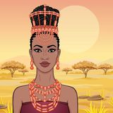 African beauty: animation portrait of the  beautiful black woman in a traditional ethnic jewelry. Princess, Bride, Goddess. Background - landscape savanna vector illustration