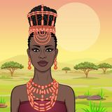 African beauty: animation portrait of the  beautiful black woman in a traditional ethnic jewelry. Princess, Bride, Goddess. Background - landscape savanna stock illustration