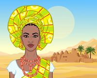 African beauty: animation portrait of the  beautiful black woman in a turban and ancient clothes and jewelry. Color drawing. Background - landscape the desert vector illustration
