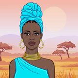 African beauty: animation portrait of the  beautiful black woman in a turban and ancient clothes and jewelry. Color drawing. Background - landscape savanna vector illustration