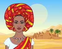 African beauty: animation portrait of the  beautiful black woman in a turban and ancient clothes and jewelry. Color drawing. Background - landscape the desert royalty free illustration