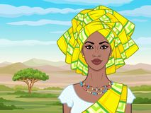 African beauty: animation portrait of the  beautiful black woman in a turban and ancient clothes and jewelry. Color drawing. Background - landscape savanna stock illustration