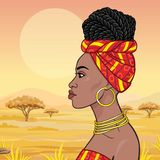 African beauty: animation portrait of the  beautiful black woman in a turban and gold jewelry. Profile view. Background - landscape the savana, mountains stock illustration