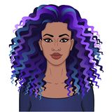 African beauty. Animation portrait of the young beautiful black woman with curly hair. royalty free illustration