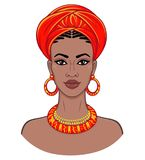 African beauty. Animation portrait of the young black woman in a turban. Vector color illustration isolated on a white background. Print, poster, t-shirt, card royalty free illustration