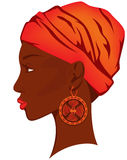 African beauty vector. Beautiful african woman with earring - bright portrait of african american beauty vector illustration