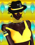 African Beauty and Fashion. A beautiful, glowing, dark skinned digital model poses against an abstract background. A yellow halter top,black hat, and makeup that Royalty Free Stock Photos