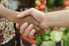 African or black American woman handshake. Traditional market deal in township stock images