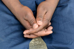 African black jobless hands Royalty Free Stock Image