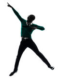 African black man jumping happy silhouette Stock Photo