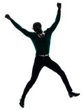 African black man jumping happy silhouette Stock Photography