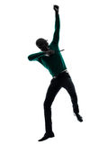 African black man jumping happy silhouette Royalty Free Stock Photography