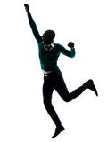 African black man jumping happy silhouette Stock Image