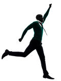African black man running  happy silhouette Royalty Free Stock Image