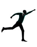 African black man running  happy silhouette Royalty Free Stock Photos