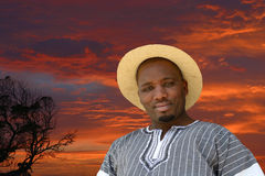 African black man on sunset background Royalty Free Stock Image