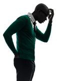 African black man thinking pensive  annoyed silhouette Stock Images