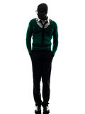 African black man walking silhouette Stock Photos