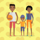African Black People. Afro American Family. Husband, wife and child negro. Mother, father and little boy. Black-skinned characters. Part of series of people of stock illustration