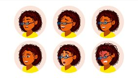 African Black Woman Avatar Vector. African American Woman Face, Emotions Set. Character Business People. Cartoon. African Black Woman Avatar Vector. African vector illustration