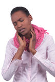 African black woman with sore throat. African black woman suffering from sore throat stock image