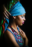 African black young woman beauty portrait with turban studio Stock Photography