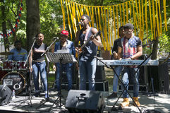 African blues rock music. Ukraine, Ivano-Frankivsk, May 20, 2017: Concert on a free music festival performed by a black African-American rock music band Stock Photo
