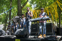 African blues rock music. Ukraine, Ivano-Frankivsk, May 20, 2017: Concert on a free music festival performed by a black African-American rock music band Stock Photography