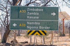 African border. Botswana, near Kasane and Chobe National Park: road traffic indication. Kasane town, in Botswana, is near the border of three State: Zimbabwe stock photography