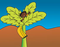 African Boy on a Banana Tree Royalty Free Stock Photography