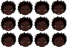 African boy emotions: joy, surprise, fear, sadness, sorrow, cryi Stock Image
