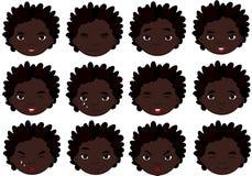 African boy emotions: joy, surprise, fear, sadness, sorrow, cryi Stock Image