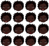 African boy emotions: joy, surprise, fear, sadness, sorrow, cryi Royalty Free Stock Photography