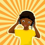 African boy with headphones Stock Photography