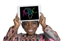 African Boy holding Minitablet PC, ABC Illustration royalty free stock images