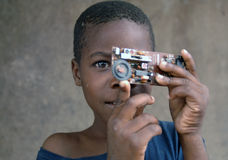 African boy home made camera Royalty Free Stock Images