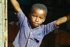 African boy in Malgasy village Stock Images