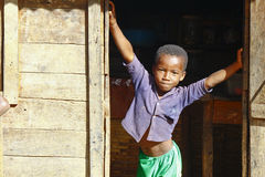 African boy in Malgasy village Royalty Free Stock Photography