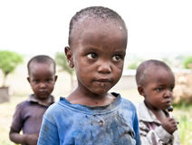African boy of Masai  tribe village looking to the camera, Tanza Royalty Free Stock Photography