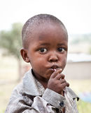 African boy of Masai  tribe village looking to the camera, Tanza Royalty Free Stock Images