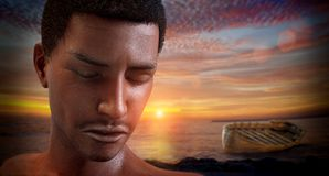 African boy migrant on the beach with abandoned boat. 3D Rendering Stock Images